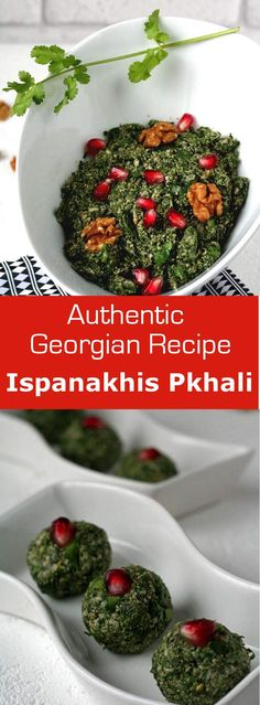 Ispanakhis Pkhali is a traditional Georgian vegetarian specialty with spinach and ground walnuts. Georgian Cuisine, Georgian Food, European Cuisine, Georgian Recipes, Why Vegetarian, Vegetarian Cookbook, Vegetarian Recipes, Best Vegan Recipes, Favorite Recipes