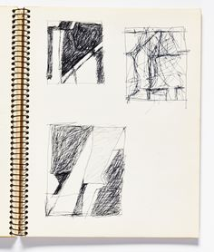 Diebenkorn, Ballpoint pen ink, Page 085 from Sketchbook # 08 [3 small abstract drawings, each framed in a rectangle]