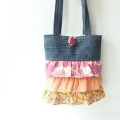 Orange Pink Purse Denim Purse Recycle Handmade by MegExpressions