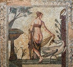 Tile mosaic depicting 'Leda and the Swan' from the Sanctuary of Aphrodite, Palea Paphos, now in the Cyprus Museum, Nicosia, Cyprus. The mosaic is estimated to be of 3rd century AD, by an unknown artist.