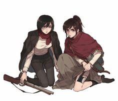 [Mikasa,Sasha] Attack on titan (cr:tw: Mikasa, Attack On Titan Fanart, Attack On Titan Ships, Annie Leonhardt, Rivamika, Eremika, Nico Robin, Madoka Magica, Powerful Women