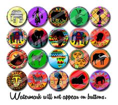 Africa Colorful African Art 1.25 inch pinback buttons pins badgesor magnets  Collectible Pins or Party Favors by PutOnYourPartyCap on Etsy