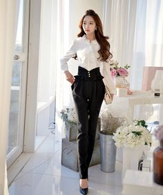 Black+High+Waist+Designer+Pants