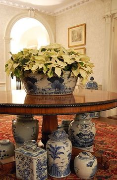 Decorating with our favorite! Blue and white ginger jars. Christmas / Holiday Decor