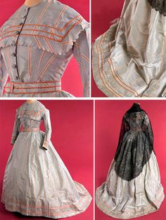 Dress, having a square yoke, long sleeves, and buttoned front. Gray printed taffeta with white and red stripes. 1800s Fashion, Victorian Fashion, Vintage Fashion, Historical Costume, Historical Clothing, Vintage Gowns, Vintage Outfits, Hoop Dreams, Paris Ville