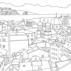 Montenegro Adult Coloring Page Coloring Kotor Bay par Wandertooth Travel Themes, Coloring Book Pages, Montenegro, Cross Stitch Embroidery, Line Art, Real Life, Geography, Drawings, Artwork
