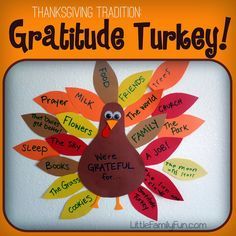 Simple and fun Thanksgiving tradition: Gratitude Turkey ~ Sunday school class, group project for bulletin board in classroom Thanksgiving Crafts For Kids, Thanksgiving Traditions, Thanksgiving Activities, Holiday Crafts, Holiday Fun, Thanksgiving Prayer, Thanksgiving Appetizers, Happy Thanksgiving, Thanksgiving Recipes