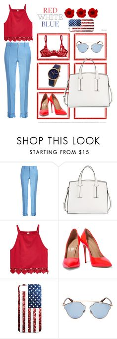 """/RED WHITE BLUE/"" by nonexistentbby ❤ liked on Polyvore featuring Par Avion Tea, Gucci, French Connection, Casadei, Christian Dior and DKNY"