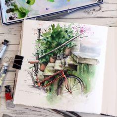 "7,646 Likes, 18 Comments -  Watercolor blog (@watercolor.blog) on Instagram: "" Watercolorist: @_alenaponkratova_ #waterblog #акварель #aquarelle #drawing #art #artist #artwork…"""