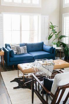 Dark Blue Tufted Sofa   Solid Wood Legs | Article Anton Modern Furniture