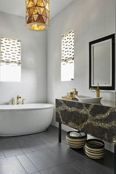 Eclectic Bathroom with Freestanding Tub Eclectic Tile, Eclectic Bathroom, Bathroom Styling, Eclectic Decor, Bathroom Interior, Modern Bathroom, Bathroom Pictures, Bathroom Ideas, Bathroom Goals