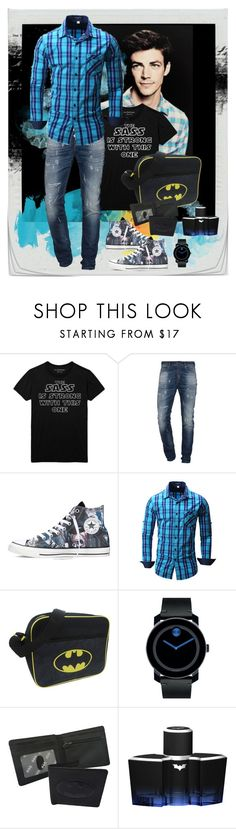 """""""The sass"""" by julyralewis ❤ liked on Polyvore featuring One-T-Shirt, Diesel, Converse, DC Comics, Movado, men's fashion and menswear"""
