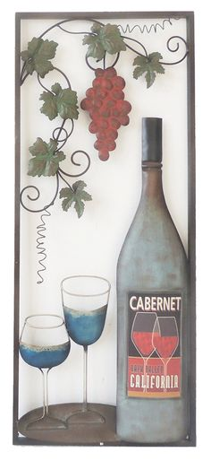 Wine with 2 Glasses Wall Decor