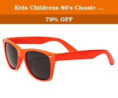 Kids Childrens 80's Classic Retro Sunglasses - (Orange). The frame is plastic and designed to hold up to rough and tumble use, but be comfortable to wear. The lenses are dark, offering great protection from the sun to small eyes. Spoil your kids and get them a great set of bright shades.