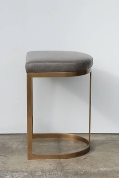 Milo Baughman Burnished Brass Bar Stools in Grey Leather image 9