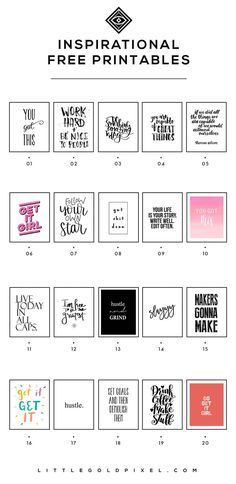 20 Inspiring Printables for 2018 is part of Wall printables - In which I round up 20 inspiring printables for girl bosses to help you reach all your goals in 2018 Print, hang in your office and glance up when you need a little push to be productive Decoration Ikea, Diy Inspiration, Wall Art Quotes, Quote Wall, Girl Boss, Printable Wall Art, Planer, Free Printables, Free Printable Quotes