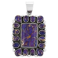 Sterling Silver Pendant Purple Turquoise P3136-C77
