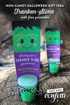 I have a super cute, non-candy Halloween treat idea to share with you all today…Franken-Slime!  The slime craze is still going strong in our house...my little guys are absolutely obsessed with playing with it. With Halloween right around the co