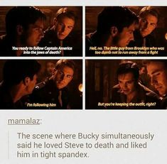 Stucky Steve Rogers Bucky Barnes marvel captain America the first avenger Funny Marvel Memes, Marvel Jokes, Avengers Memes, Marvel Dc Comics, Marvel Avengers, Steve Rogers Bucky Barnes, Bucky And Steve, Dc Movies, Stucky