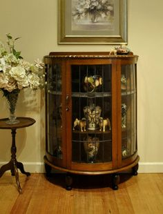 Antique Leadlight Mirror Back Half Round OAK Display Crystal China Cabinet in Melbourne, VIC | eBay