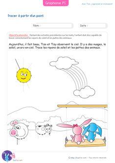 PDF Graphisme Petite Section pour Tracer à partir d'un point. Tracer correctement les rayons du soleil et les pattes des animaux en partant des points.