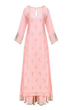 Nude pink and gold gota patti work kurta and skirt set available only at Pernia's Pop Up Shop. Kurti Designs Party Wear, Kurta Designs, Blouse Designs, Pakistani Outfits, Indian Outfits, Indian Dresses, Indian Attire, Indian Ethnic Wear, Salwar Kameez