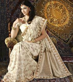 USD 90.94 Off White Banarasi Silk Saree 28929