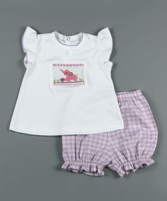 Another great find on #zulily! White & Purple Elephant Smocked Tee & Bloomers - Infant by Classy Couture #zulilyfinds
