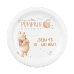 Winnie the Pooh | Fall Pumpkin First Birthday Paper Plate $1.70 by winniethepooh Pumpkin First Birthday, Fall Birthday, Winnie The Pooh Birthday, Expecting Baby, Little Pumpkin, Cake Servings, Baby Nursery Decor, Party Tableware, Fall Pumpkins