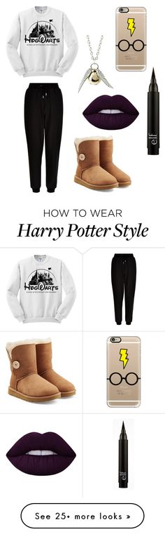 """Harry Potter Marathons"" by sjudnich on Polyvore featuring New Look, UGG Australia, Lime Crime and Casetify"