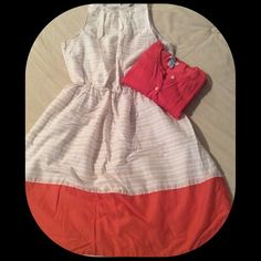 Sleeveless dress Cream/tan striped w/ salmon color block. Knee length. Fully lined. Cute worn w/ a cardigan too. Cinched at the waist for flattering fit. Light weight. Old Navy Dresses