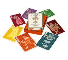 Hermès Mythes et Constellations $125 Hermes card game with seven families and seven members in each family. The goal is to reconstruct your family by exchanging cards with your neighbors. The first person to reconstruct his or her family wins, silver- edged cards.