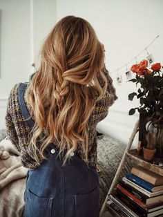 pretty hairstyles ~ Hair Beauty , hairstyles for medium length hair Everyday Hairstyles, Pretty Hairstyles, Updo Hairstyle, Hairstyle Ideas, Casual Hairstyles, Wedding Hairstyles, Loose Braid Hairstyles, Quinceanera Hairstyles, 1940s Hairstyles