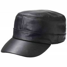 fb3e84a8409bc Casual Outfitters Hard Bill Leather Motorcycle Biker Baseball Cap comes in  solid black and is made