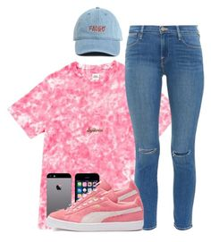 """""""Faded Coral."""" by myia-bored-ass ❤ liked on Polyvore featuring Opening Ceremony, Frame Denim, FingerPrint Jewellry, Puma and A Mano Trading"""
