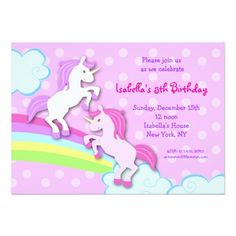 Shop Unicorn Little Pony Birthday Party Invitations created by LittleSeiraStudio. Personalize it with photos & text or purchase as is! Little Pony Birthday Party, Baby Girl 1st Birthday, Unicorn Birthday Parties, 4th Birthday, Birthday Ideas, Fairy Birthday, Unicorn Party, 1st Birthday Party Invitations, Shower Invitations