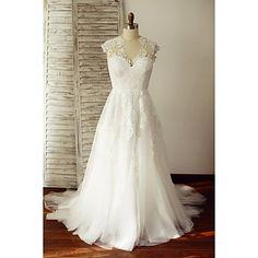 Linha+A+Vestido+de+Noiva+Cauda+Escova+Decote+V+Renda+/+Tule+com+Renda+–+BRL+R$+506,97