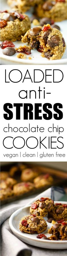 Stressed? Never fear, Loaded Anti-Stress Chocolate Chip Cookies are here! They're made with ingredients that help you stay calm, cool and collected through the election, holiday shopping and anything else that gets you crazy. Vegan, gluten free and made with healthy, whole ingredients.