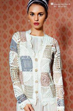 crochet lace jacket and vest Crochet Coat, Crochet Jacket, Lace Jacket, Crochet Cardigan, Crochet Clothes, Moda Crochet, Crochet Squares, Granny Squares, Crochet Granny