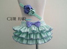 Baby Ruflle Bloomer Set  Ruffle Diaper Cover  Mint by cutieflair