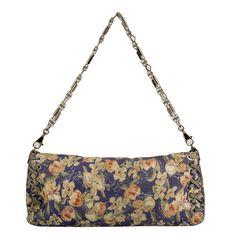 Roberto Cavalli Blue Floral Leather Silver Tone Chain Flap Shoulder Bag Clutch