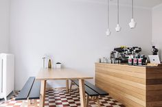 Helsinki guide on GUIDED by Cereal  Interior —Kitchen — Tiles + wooden table + light