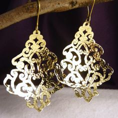 BRASS SilverSari Jali  Flaming Heart  Earrings * crafted by Silversmiths (BE11)
