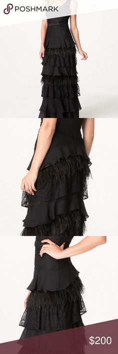 """bebe Black Feather Lace Chiffon Gown Dress A beautiful Bebe aristocratic gown finished with exquisite alternating tiers of feathers, lace and chiffon. Gleaming beaded waist and posh front and back V necks. Hidden back hook-and-eye and zip closure. Fully lined. Color: Black, Size: 4. Center back to hem is 46.5"""" and from the top of the shoulder strap to bottom layer, it is 56.5"""" long. Will fit someone who is up to 5'7"""" (i.e. 5'5"""" with 2"""" heels). Worn only for a few hours for a special event…"""