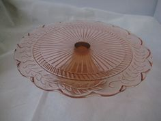 Pink Depression Glass Vintage Cake Stand