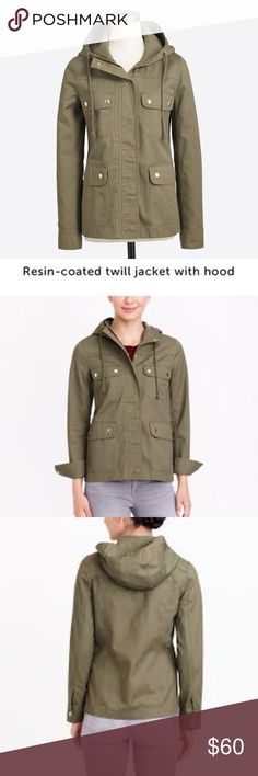 J.Crew resin-coated twill jacket Medium J. Crew resin-coated jacket size medium great condition. All hardware is gold J. Crew Jackets & Coats Utility Jackets