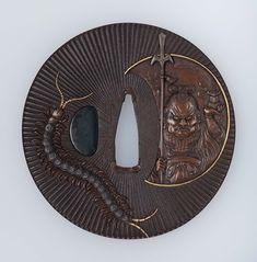 Tsuba with design of Bishamon and centipede. Early 19th century. Yanagawa Naoharu, Japanese, born in 1750  http://educators.mfa.org/tsuba-gallery-184603?page=1