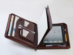 Coffee iPad 4 Leather Case Portfolio with Paper Pad Holder and Cover for Apple iPad 4  This Portfolio leather case in great designed for your apple iPad 4th and your Apple iPhone,including iPhone 4 an