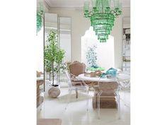Green glass chandelier.
