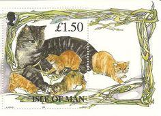 Isle of Man--Manx cat and kittens stamp